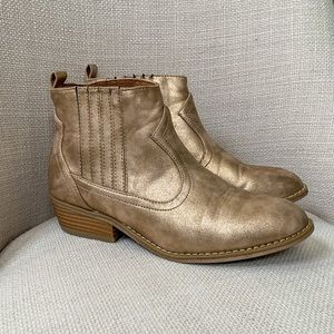 Universal Thread Gold Vegan Leather Ankle Boots